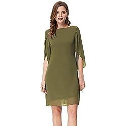 Vestido de Mujer Elegante Blusa de Gasa Manga 3/4 Blusa de Vestir Pura Verde Oliva Color Top 3XL CL011125-2