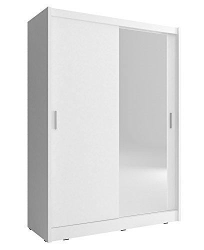 Kleiderschrank mit Spiegel Schrank Gaderobe Schiebtüren Borneo A1 (Weiß, 150 cm)