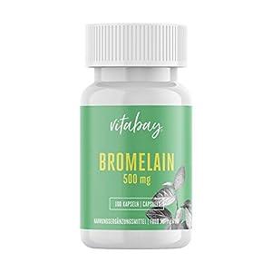 Bromelain 500mg 1200 F.I.P, natürliches Ananasenzym, Hochdosiert – 100 Vegane Kapseln