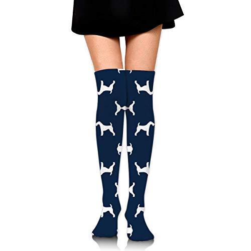 DGHKH Airedale Terrier Dog Breed Pet Quilt B Quilt Silho Knee High Graduated Compression Socks for Unisex - Best Medical, Nursing, Travel & Flight Socks - Running & Fitness Camo Quilt