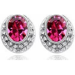 Girly Play Cristal Swarovski - Boucles D'Oreilles Eclipse - Couleur : Rouge