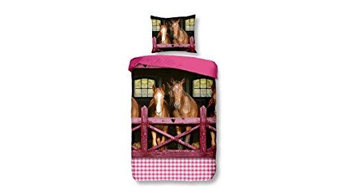 Größe Decke Pferde 60 (Snoozing Pferd - Kinder bettbezug - 120x150 cm + kissenbezug 60x70 cm - 100% Baumwolle - Pink)