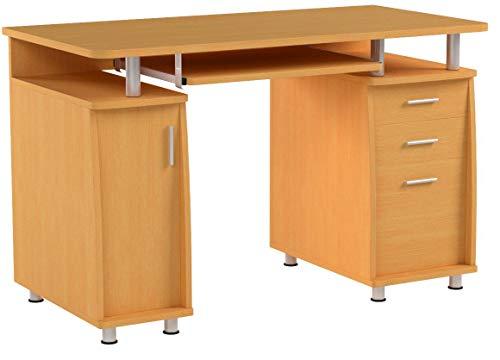 Großer Computer und Schreibtisch mit Registratur A4, 2Stationery Schubladen und Schrank für das Home Office in Buche-Piranha PC 2b