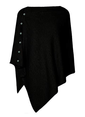 PULI Poncho da donna realizzato maglia taglia unica Nero Taglia unica