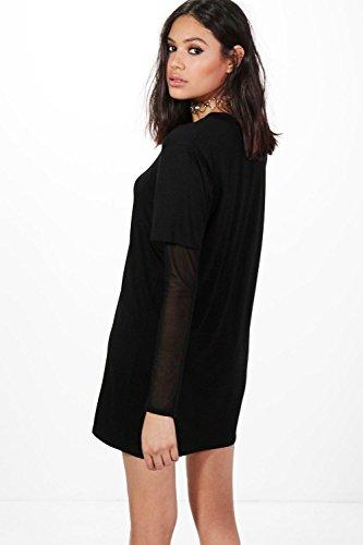Damen Leichter Sand Mol Doppellagiges T-shirt-kleid Mit Netzärmeln Leichter Sand