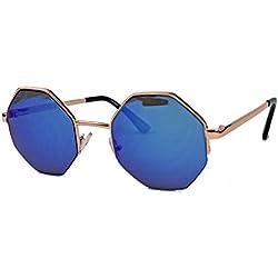 Vintage Octagon Sonnenbrille Damen Herren Hippie Lennon Metall Rahmen LN8 (Blau verspiegelt)