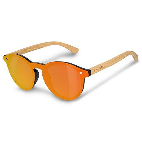 Navaris Sonnenbrille polarisiert randlos mit Holzbügeln - UV400 Damen Brille Herren Holzbrille -...