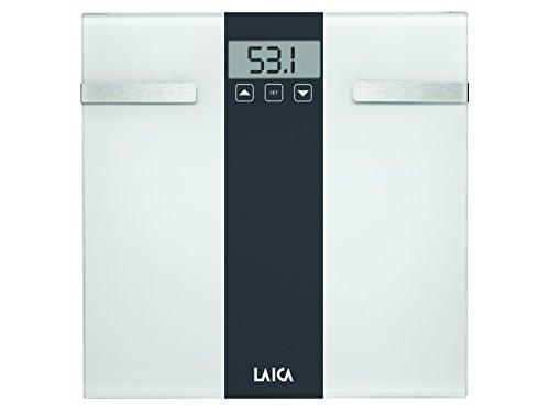 Laica Pesapersone Elettronica con calcolo della Composizione corporea Bilancia Body Composition, Bianco/Grigio, 180 kg, 2 unità