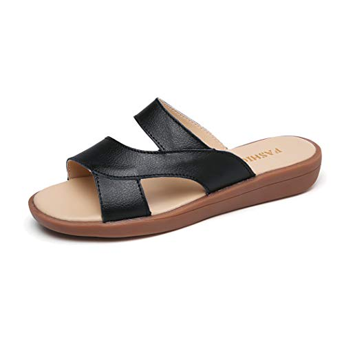 Mzq-yq Summer Womens Ladies Sandals Soft Insole Flat Mules Sandals Open Toe Casual Shoes Walking Vacation,Black,36 -