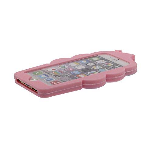 iPhone 6 Plus 6S Plus Etui, Style Cartoon Doux Silicone Coque Case per Apple iPhone 6 Plus 6S Plus 5.5 inch 3D Mignonne Crème glacée Conception Joli Rouge avec 1 Métal pendentif rose