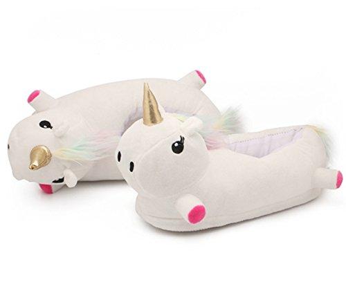 Katara 1783 - Einhorn Hausschuhe für Erwachsene, Unicorn Slippers in Weiß mit Horn in Gold, bunte Mähne und Schweif, Einheits-größe - Süße leuchtende Pantoffel aus Plüsch - Regenbogen (Erwachsene Minion Für Outfit)