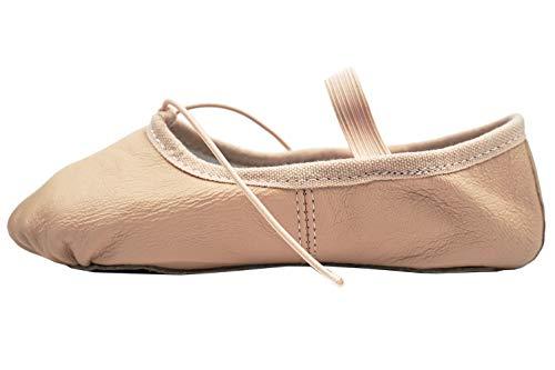 DANCE YOU 1102-2 Balletschläppchen Spitzenschuhe Aus Leder Ballettschuhe Gymnastikschläppchen mit Geteilte Sohle Aus Leder Tanzschuhe für Damen und Kinder in Gr. 24-40 Erhältlich 180 EU28 -
