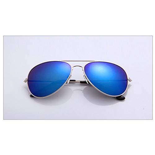 WDDYYBF Sonnenbrillen, Lässige Sonnenbrille Frauen Männer Vintage Mode Klassischen Komfort Sonnenbrille Männlich Weiblich Rückspiegel Uv400 Silber Rahmen Dunkel Blaue Linse