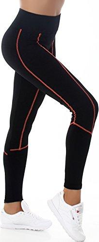 Veryzen Damen Thermo Leggins Kompression Running Lauftight Winter-Tight Longtight Stretch High-Waist Hoher Bund lang Streifen, Schwarz Orange 34 36 38 -