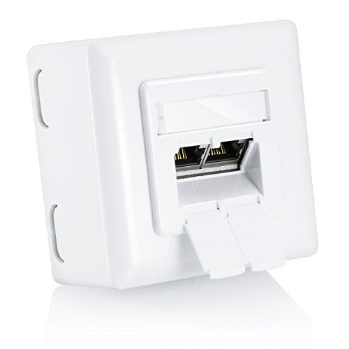 CSL - Prise RJ45 montage au choix encastré / apparent / prise réseau Cat6 2 ports Gigabit/Ethernet | prise combinée universelle (montage encastré / montage apparent) | prise données | 2x RJ45 | LSA+ | TIA-568A/B | ADSL | ISDN | pour réseaux Gigabit et Ethernet (10/100/1000 Mbit/s) | raccordement horizontal | blanc