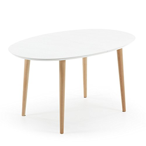 Kavehome Table Oqui extensible ovale 140-220 cm, naturel et blanc