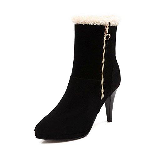 AgooLar Damen Hoher Absatz Rein Rund Zehe Ziehen auf Stiefel mit Anhänger, Weiß, 43