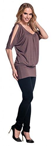 Glamour Empire Femme T-shirt top tunique à manches chauves-souris fendues. 221 Cappuccino