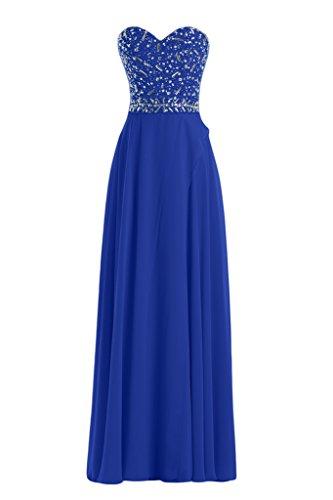Toscana sposa alla moda a forma di cuore Strass Chiffon sposa giovane a lungo la sera vestimento un'ampia Party ball extra lungo Blu Royal