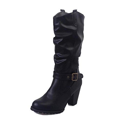 Bottes et boots,Transer® Mode pour dame femme boucle Retro bottes simili cuir bottes Martin Noir