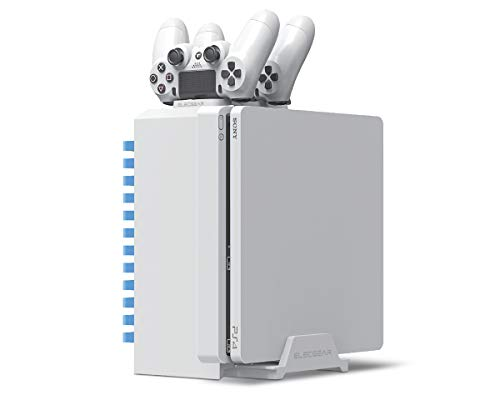 Games storage tower, supporto verticale, stazione di ricarica - elecgear bianca video dvd blu-ray torre per giochi, caricabatteria caricatore charger charging station per playstation ps4, pro, slim