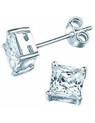 TF klassische Bling-Bling-Ohrstecker in eckig, Sterling Silber 925