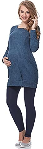 Be Mammy Damen Umstandstunika mit Stillfunktion Reißverschluss langarm Maternity Tunika zum Stillen BE20-154 (Jeans, (Langarm Schwangerschafts-tunika)