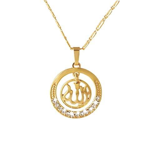 ❤️ SAFIYA - Halskette für Muslimische Frauen Kette Anhänger Schmuck Allah arabischen Nahen Osten Islam ☪ Vergoldet I 45cm