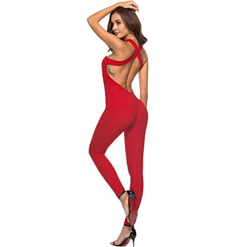 DIMPLEYA Sport Jumpsuits Sexy Halfter One Piece Active Outfits Yoga-Hose Fitness-Hosen HüFten Gesäß Yoga-Hose Frauen Sommer,Red,L Red One-piece-outfit