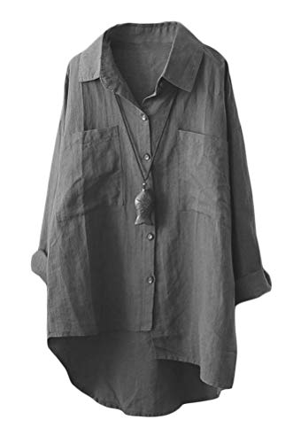 Mallimoda Damen Leinen Blusen Langarmshirt Große Größen Freizeit Tunika Oberteil Locker Hemd Shirts Dunkelgrau XXL - Leinen Bluse Top