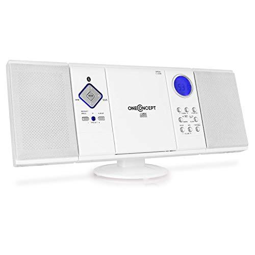 oneConcept V-12-BT • Stereoanlage • Kompaktanlage • Microanlage • Bluetooth-Schnittstelle • MP3-fähiger CD-Player • USB-Port • UKW Radiotuner • 20 Senderspeicher • AUX • Pianolack-Finish • weiß