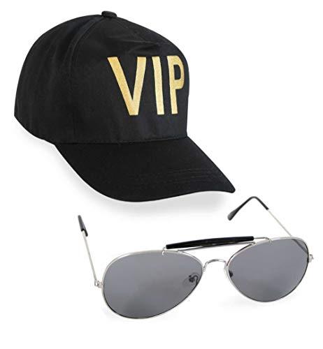 KarnevalsTeufel Zubehör-Set VIP 2-teilig Basecap in schwarz mit Pilotenbrille Promi Mütze Berühmtheit Star Kappe und Sonnenbrille
