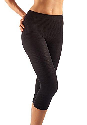 FarmaCell 122 (Negro, L/XL) Pantalon hasta la pantorrilla con efecto masaje y anti-celulitis