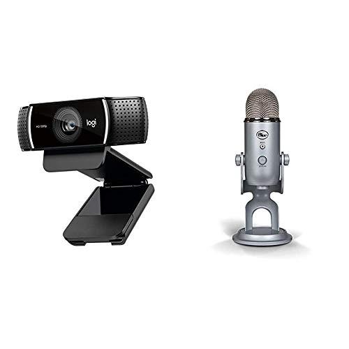 Blue Microphones Yeti USB Mikrofon, silber + Logitech C922 Pro Stream Webcam (1080p/30FPS oder 720p/60FPS, mit Mikrofon und Stativ, Arbeitet mit Xbox One) schwarz