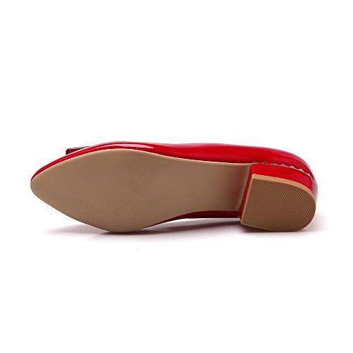 AllhqFashion Femme Verni Tire Pointu à Talon Bas Mosaïque Chaussures Légeres Rouge
