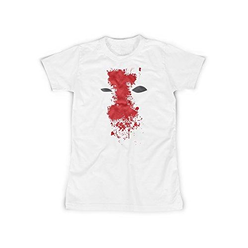 (licaso Frauen T-Shirt mit Aufdruck in Weiß Gr. XXXL Bloody Mask Anti Superheld Design Girl Top Mädchen Shirt Damen Basic 100% Baumwolle Kurzarm)