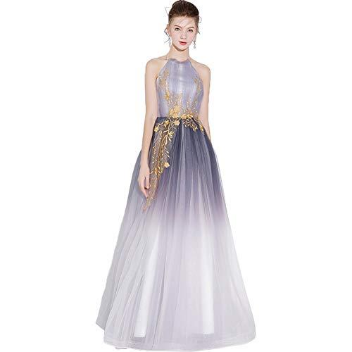 YT-RE Halfter Kleid Bodenlangen Abendkleid Sexy Farbverlauf Kleid Bandage Gold Seide Stickerei Abendkleid Weiblich, Grau, m - Grau Chiffon Halfter