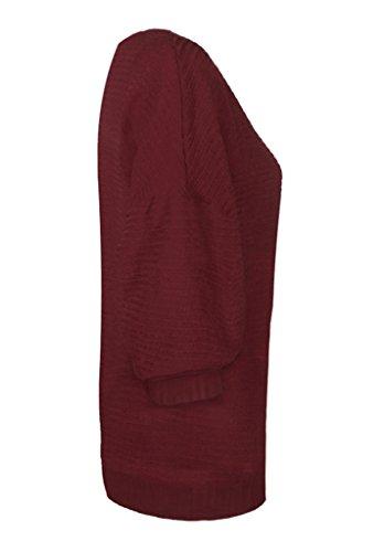 Bigood Pull Manche Chauve-souris Sweat-shirt Automne Hiver Sweat Col Rond Pull-over Tricoté Mode Bordeaux