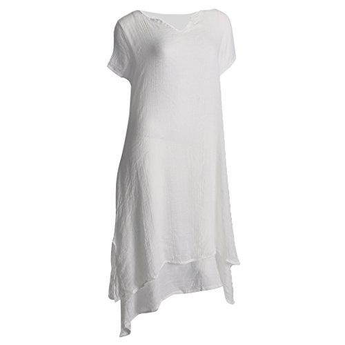 Gazechimp Damen Kurze Ärmel Kleid Baumwolle Leinen lässig Langarm Rundhals Doppel Layered Sommer Maxikleid Hemdkleid Partykleider - Weiß, XL