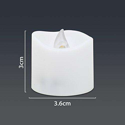 WHCREAT 12 PCS ondulado superior sin llama luces de té, blanco cálido luz intermitente