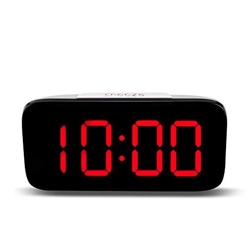 Denret3rgu Carga por USB Posponer Mesa de Escritorio Pantalla LED Control de Voz Reloj Despertador Digital Red