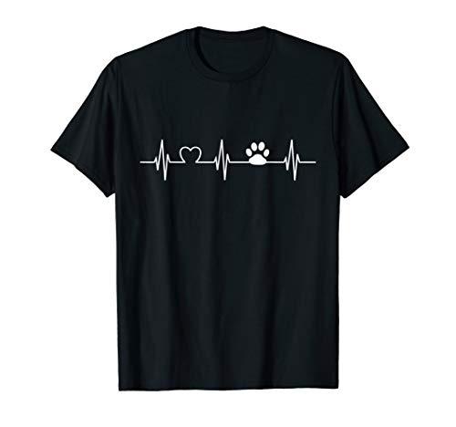 Herzschlag Pfote Hundepfote Frauchen Herrchen T-Shirt -