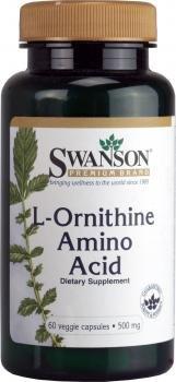 Swanson L-Ornithin Aminosäure 500mg, 60 Vegetarische Kapseln (L-Ornithine Amino Acid vegetable capsules)