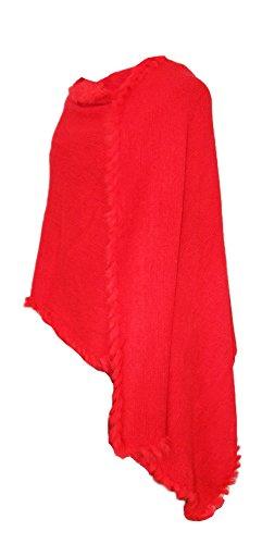 Dirndltuch Strick Stola mit Fellbesatz Rot - Kuscheliger Schal zu Dirndl, Trachten und Abendkleidern