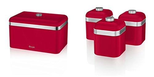NO.1 COFFEE & TEA PRODUCTS SWAN KITCHEN ACCESSORIES RETRO SET – RETRO RED BREAD BIN (BREADBIN) AND 3 RED CANISTERS SET BEST BUY REVIEWS UK