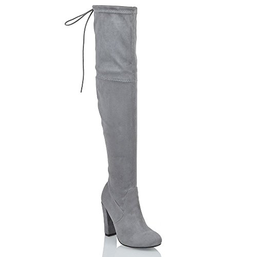 957d46b2672 ESSEX GLAM New Womens Thigh HIGH Boots Ladies Over The Knee Stretch Evening  Block MID Heel