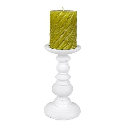 Kerzenständer für Stumpen- und Kugelkerzen in Weiß, 19,5 cm