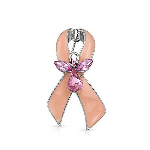 Bling Jewelry Pink Ribbon Crystal Krebsüberlebender Schutzengel Crystal Brosche Pin Für Damen Emaille Versilbert (Ribbon Pink Spaziergänge)