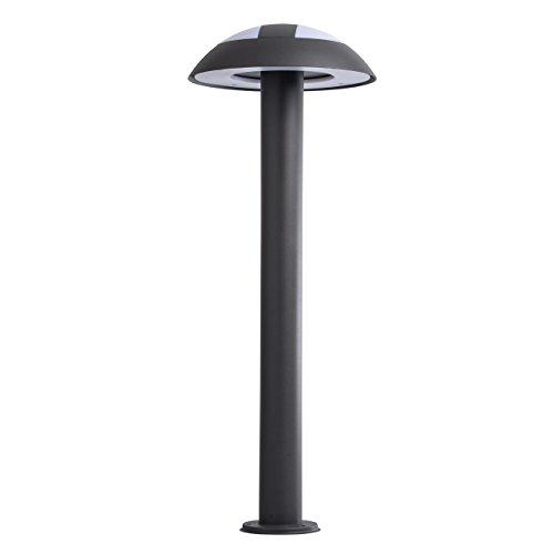 MW-Light 807042301 Lampadaire sur Pied Extérieur Moderne LED en Métal Noir et Acrylique Blanc Mat pour Jardin Patio Chemins Haut.70cm IP44 16W LED incl