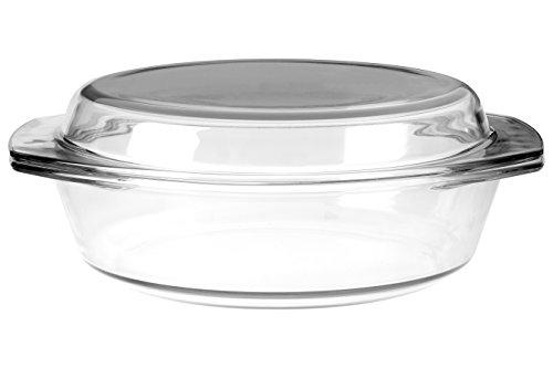Premier Housewares Kasserolle mit Deckel, 2Liter, aus gehärtetem Glas, Transparent